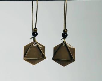 Dangling earrings Brown - graphic - hexagonal enamel sequin