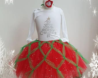 Christmas Tutu Dress - XMas dress - Santa Dress - Claus Party Dress - Holiday Tutu Outfit - Santa Outfit For Girls - Red Christmas Dress