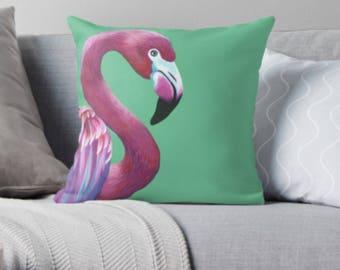 Flamingo scatter sofa cushion | green bird lover scatter sofa cushion | bird lover throw pillow | bird lover cushion