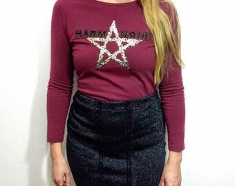 Black sparkle stretch recycled pencil skirt