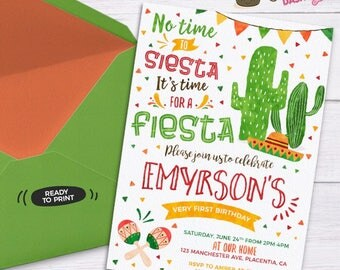 Fiesta Birthday invitation DIY printable Fiesta invitation Fiesta Birthday invite Fiesta party invitation Watercolors No time to siesta