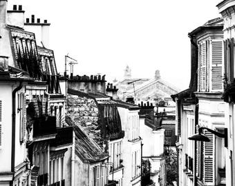 BW Paris Rooftop Photography - Paris Rooftops - Wall Art - Paris Decor - Black and White - Fine Art Photography  - Montmarte Views BW - 0105