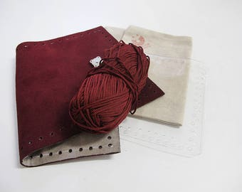 Kit for a leather clutch, make your own leather clutch, gift for her, gift for crafty mum, suede wallet