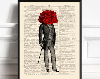 Rose Is A Rose, Gothic Victorian Art, Gift for Him to 50, Gay Wedding Gift, 10 Anniversary Gift, 50th Birthday Gift, Grandmother Print,  431