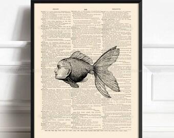 Little Goldfish, Sea Monster Poster, Funny Bathroom Art, Funny Bathroom Art, Funny Little Animal, Surreal Girl Gift, Marine Wall Decor  084