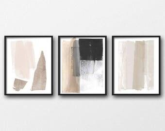 Beige & Grey Triptych Wall Art, Set of 3 Prints, Digital Download, Modern Poster, Abstract Wall Art, Abstract Minimalist, Scandinavian Art