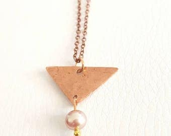 COKI copper necklace and Freshwater Pearl