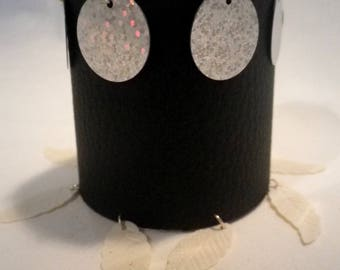 Black leatherette Cuff Bracelet and small decorations - gift idea
