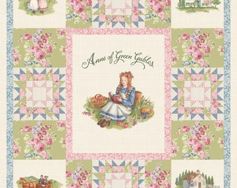 "Anne of Green Gables 36"" Panel Digitally Printed from Penny Rose Fabrics 100% quilting cotton licensed woven cotton"