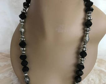 SALE Vintage Lucite Black Beaded Necklace with Silver Beads / Retro Necklace / Statement Necklace