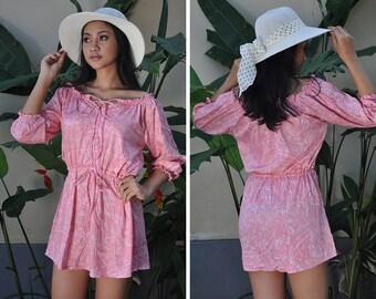 Mini Summer Dress, Off Shoulder Dress, Short Dress, Pink Dress, Cover Up, Resort Wear, Gift For Her, Beach Dress
