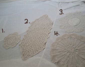 Choice of Vintage Cream Doilies and Runners