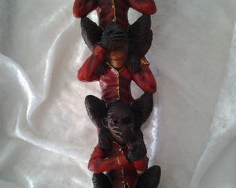 Vintage Planet of the Apes Hear no, See No Speak No Evil Resin Totem