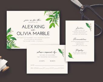 Floral Modern #2 Wedding Invitation . PRINTABLE