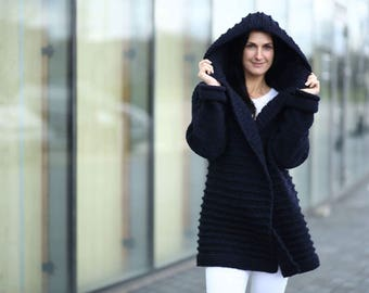 Hand Knitted Tied-up Cardigan for Women Dark Blue Chunky Sweater with a Hood Stylish Oversized Cardigan Spring Clothes