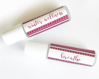 PRINTABLE Essential Oil Labels | Christmas | 9 DIY Roller Bottle Labels | Holiday Stripes