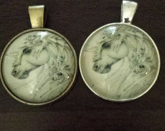 2  lizard on horse glass cabochon pendants  destash  clearance #p6