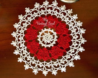 Red Heart Doily - Lace Doily - Coffee Table Doily - Pineapple Crochet Doily - Handmade Doilies - Rustic Decor - Housewarming Gift