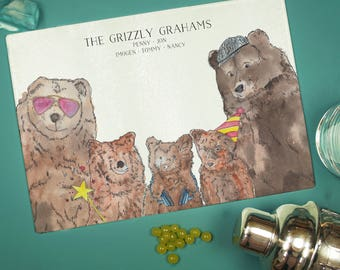 Personalised Bear Accessories family Chopping Board