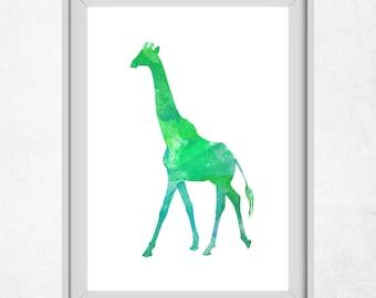 Giraffe Print, Green Art, Giraffe Wall Art, Printable Art, Green Wall Prints, Giraffe Art, Green Decor, Nursery Wall Print, Kids Decor