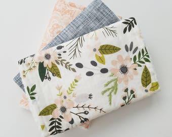Floral Baby Burp Cloth Set, Baby Girl Gift, Burp Cloths, Modern Baby Gift, Girl Burp Cloths