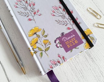2018 Slim Diary featuring my original watercolour and ink floral 'Golden forest' design - personalised text - pretty gift