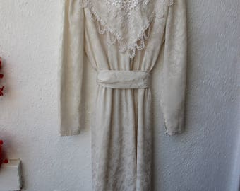 Vintage Dress Cream Lace 1970s does Victorian Mid-length Floral Wedding Bridal Evening Prairie large