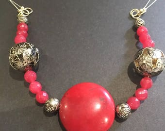 Hand made Red Jade beaeds necklace
