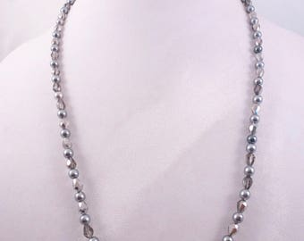 Gray on Silver Necklace