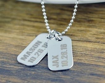 Engraved Mens Necklace, Mens Dog Tag Necklace, Mens Necklace, Engraved Mens Jewelry, Personalized Dad Gift, Engraved Mens Gifts
