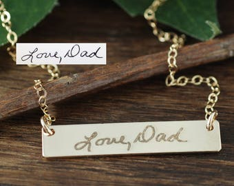 Custom Handwriting Bar Necklace, Loved Ones Engraved Handwriting, Signature Necklace, Memorial Necklace, Engraved Handwriting Bar Necklace