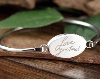 Memorial Bracelet, Sympathy Gift, Actual Handwriting Bangle Bracelet, Personalized Engraved Bracelet, Gift for Her, Signature Bracelet