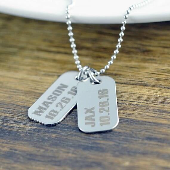 engraved mens necklace mens dog tag necklace mens necklace. Black Bedroom Furniture Sets. Home Design Ideas
