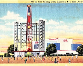 Vintage NY Postcard, NY World's Fair, Dupont Building, Flushing Meadows, Corona Park, Queens NY, 30s Postcard, Retro Postcard, Unposted