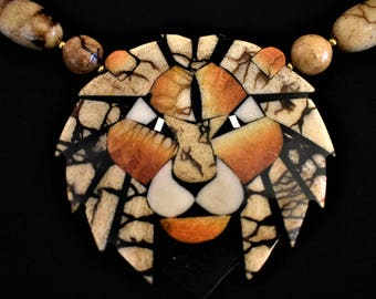 Vintage Lee Sands Lion Statement Runway Pendant Necklace Chunky Beaded 26""