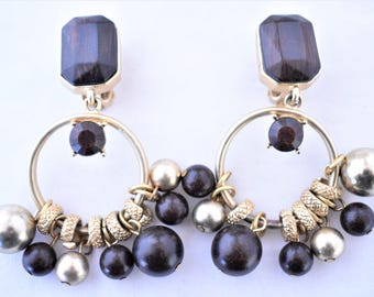 Vintage Gypsy Hoop Dangle Statement Earrings Beaded Clip On Brown Faux Wood Black Gold Tone Boho 80s Costume Jewelry 2.75""