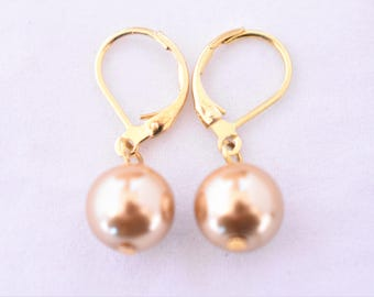 Vintage Champagne Faux Pearl Dangle Drop Clip On Earrings Minimalist Delicate Retro Costume Jewelry 1""