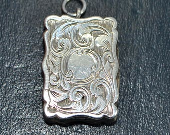 1856 Sterling Silver Small & Ornate VINAIGRETTE Pendant / FOB - Foliate Engraved