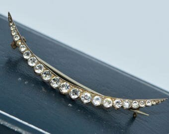 Antique Large Solid 900 SILVER Victorian WHITE Paste CRESCENT Moon Brooch / Pin