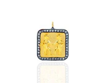 SDC2053 Zodiac sign - Gemini Pave Diamond Charm