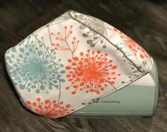 Cricut Cuttlebug V3 Custom Handmade Dust Cover Blue, Coral, Gray Dandelion with Gray Piping