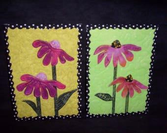Fabric Postcards - Set of 2 Coneflowers