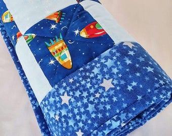 Rocket Baby Quilt, Spaceship Baby Quilt, Outerspace Nursery, Blue Baby Quilt, Baby Quilt Handmade, Baby Quilt For Sale, Baby Quilt Boy
