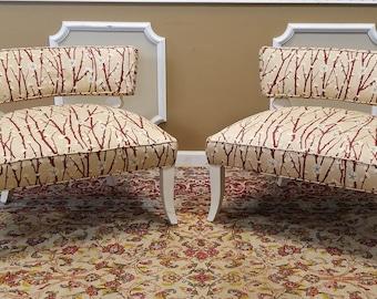 Pair 1950s Mid-Century Modern James Mont Upholstered Slipper Chairs