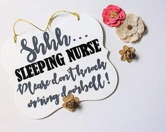 Sleeping Nurse Door Hanger Sign