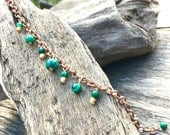 Malachite bead bracelet on antique copper belcher chain, green striped gemstone, boho bracelet, birthday gift, autumn colours