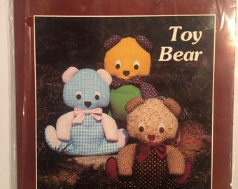 Toy Bear Sewn Soft Stuffed Dolls - A Patchwork Pattern - Vintage 1980's Pattern by Yours Truly