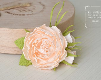 Rose Hair clip Wedding Peach Bridal Rustic Hair Piece Peach Rose Boho hair clip Romantic wedding Bohemian rose Hairpiece Flower girl