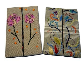 set of two cases handkerchiefs, hand embroidered on linen blend plain and striped linen, (19-20)