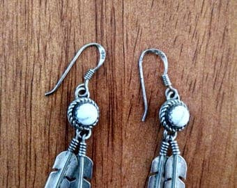 Silver With White Stone Feather Earrings